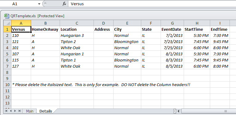 Excel Template Tab 2